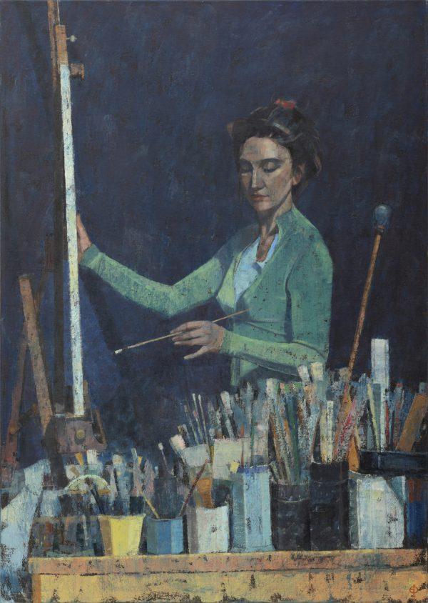 Artist in Studio, Oil on Canvas, 105 x 75 cm