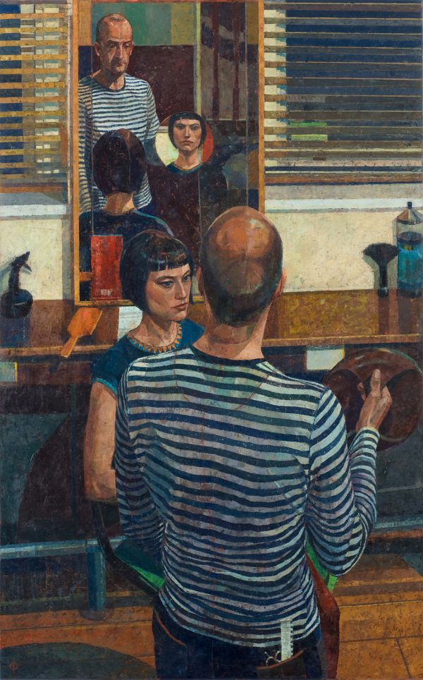 The Hairdresser, Oil on Gesso Panel, 122 x 76 cm