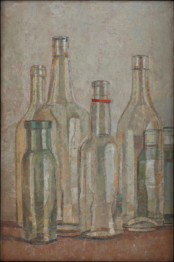 Bottles, Oil on Gesso Panel, 46 x 31 cm