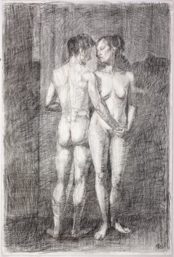 Adam and Eve, Conte and Charcoal, 56 x 38 cm