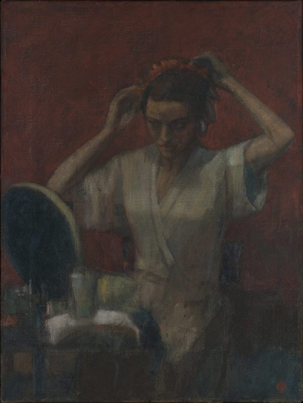 At the Mirror, Oil on Canvas, 41 x 30 cm