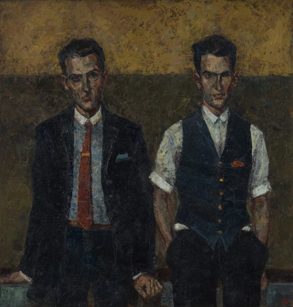 Brothers II, Oil on Linen on Panel, 46.5 x 44.5 cm