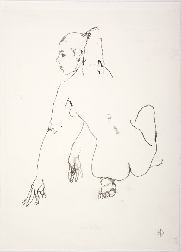Crouching Nude, Quill and Brush with Ink, 34 x 24 cm