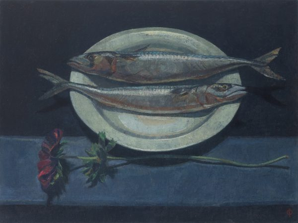 Fish with Anemone, Oil on Gesso Panel, 46 x 61 cm