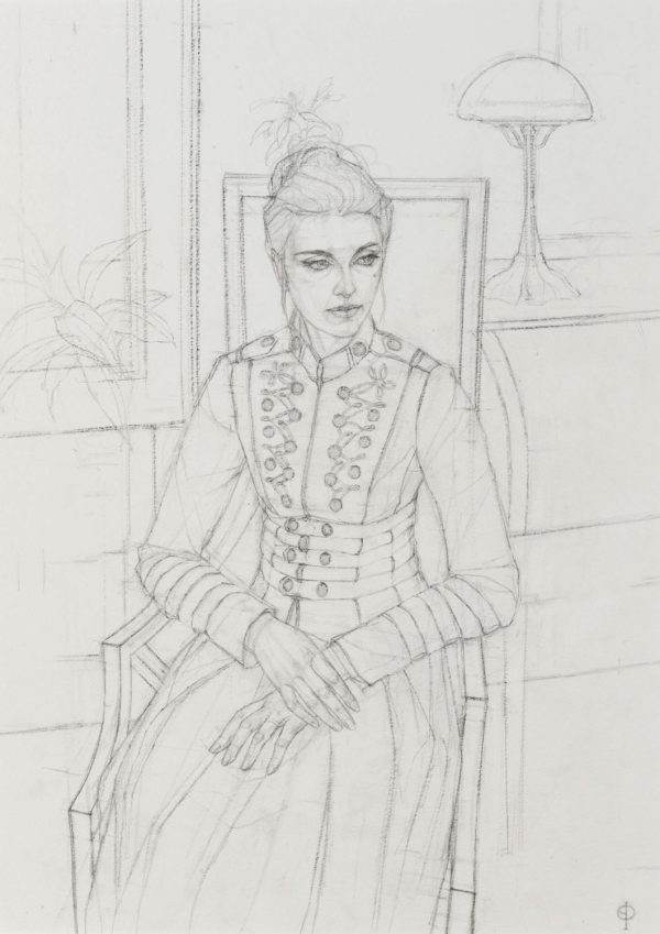 Girl in Military Jacket, Pencil, 48 x 36 cm