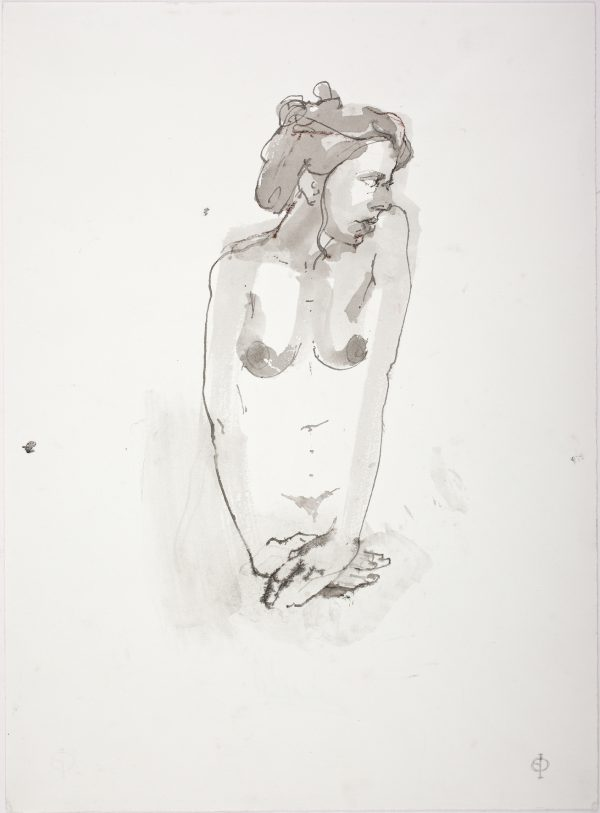 Nude with Crossed Hands, Quill, Ink & Wash, 38 x 27 cm
