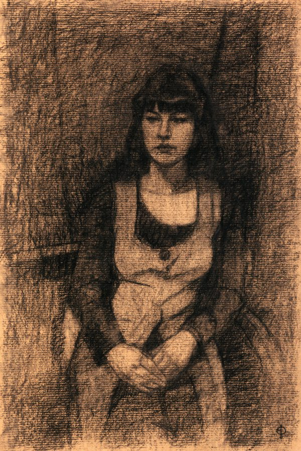 Young Woman, Charcoal and Conte, 38 x 25 cm