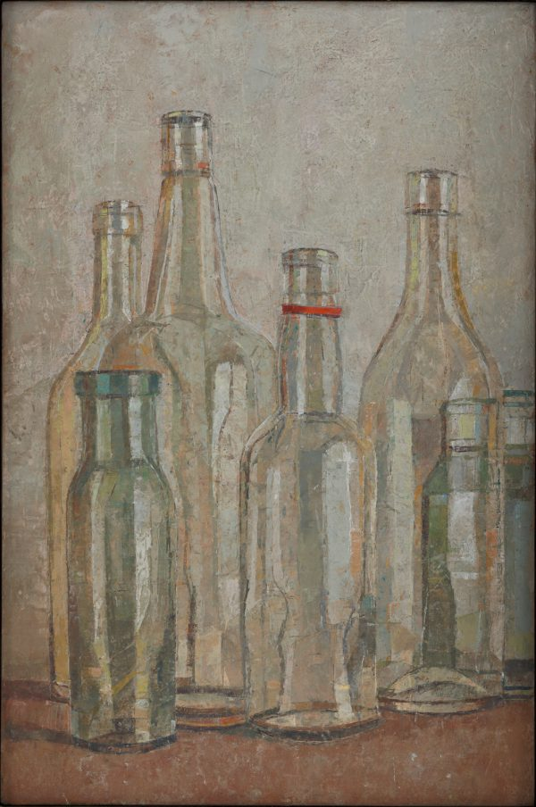 Bottles, Oil on Gesso Panel, 46 x 31 cm