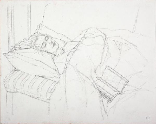 Charlotte Resting, Pencil, 33 x 41 cm