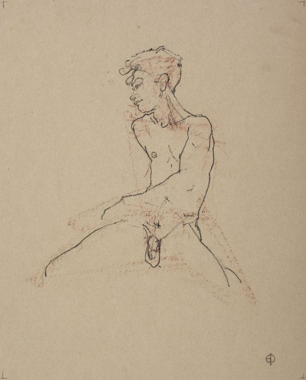 Male Nude, Charcoal and Red Chalk, 41 x 36 cm