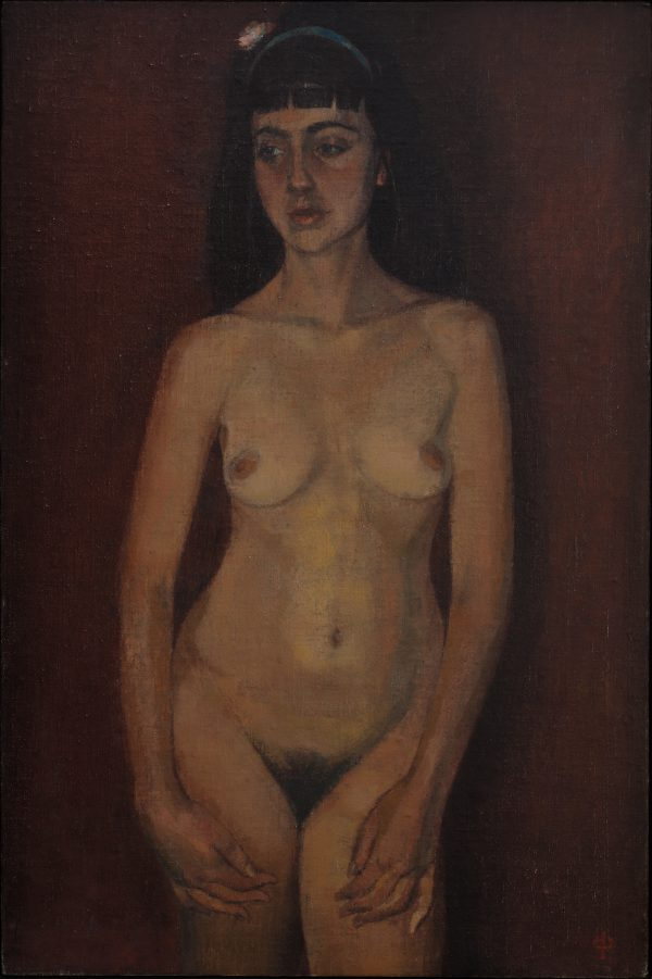 Nude Against Red, Oil, Linen on Panel, 46 x 31 cm