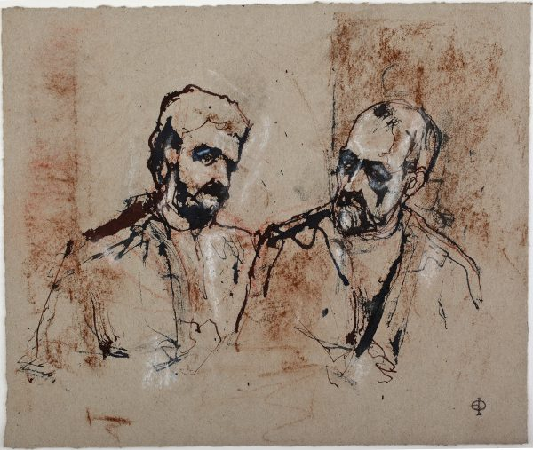 Two Men Conversing, Ink and Chalks, 21 x 25 cm